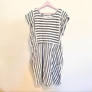 By Together Striped Roll Sleeve Dress with Pockets